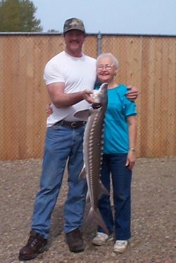 Dave & Mom with sturgeon
